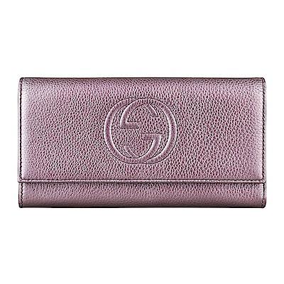 GUCCI SOHO經典GG車紋LOGO金屬感牛皮12卡釦式長夾(香檳紫)