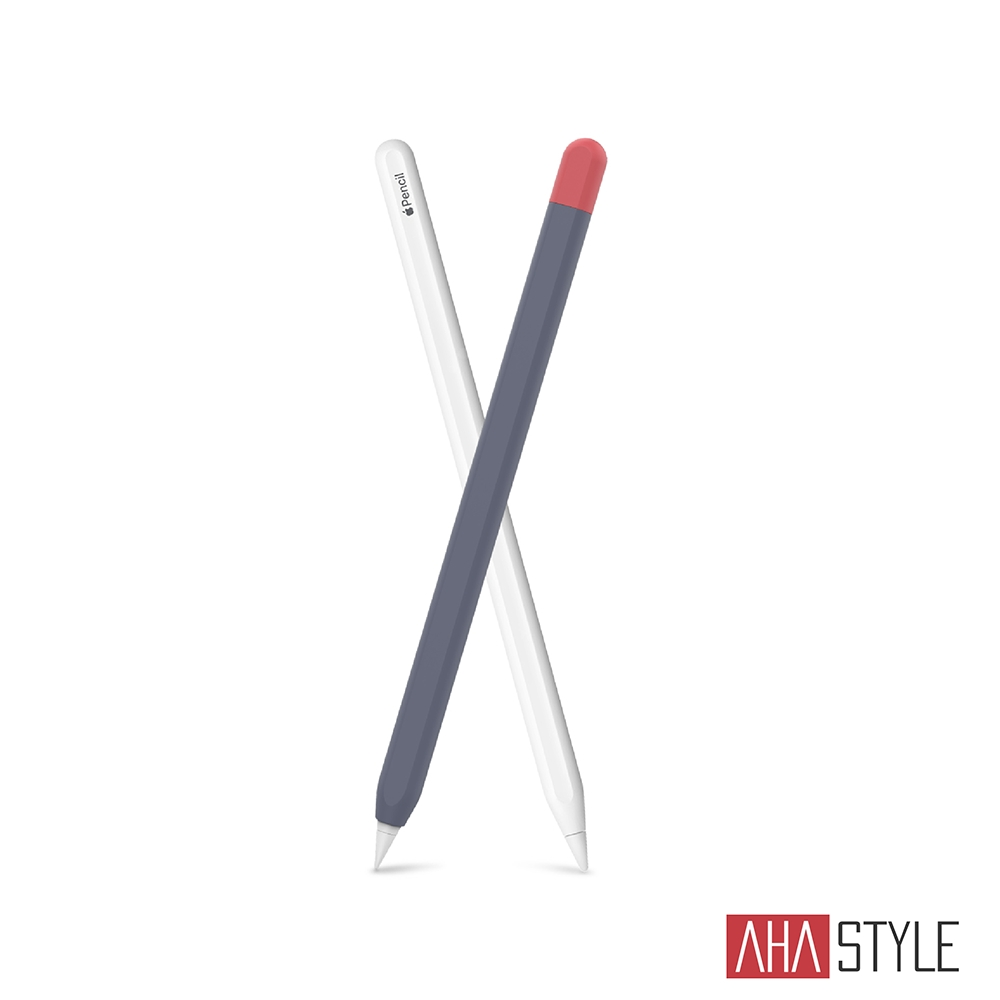 AHAStyle Apple Pencil 第二代專用 矽膠保護筆套 撞色款 午夜藍+紅