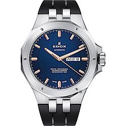 EDOX Delfin 海豚系列 專業200米日曆機械錶-藍x黑/43mm