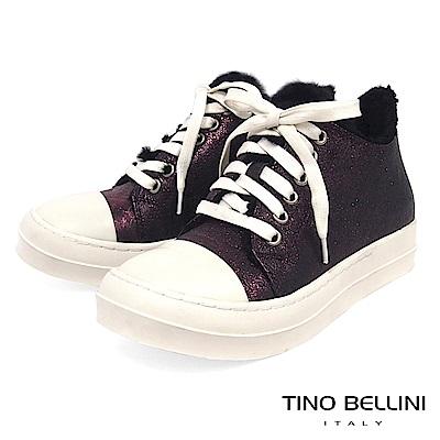Tino Bellini青春暖心鋪毛綁帶厚底休閒鞋_金屬紫