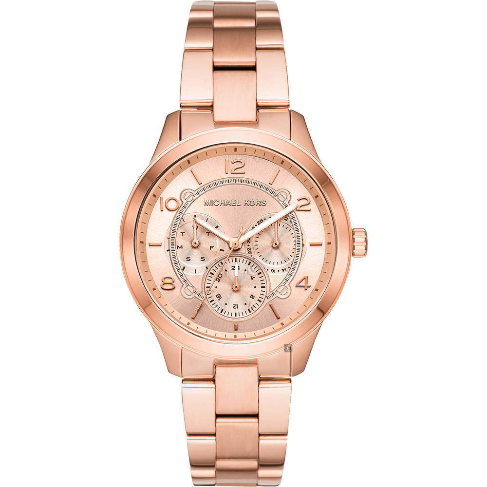 Michael Kors Runway 紐約時代日曆手錶-玫塊金/38mm