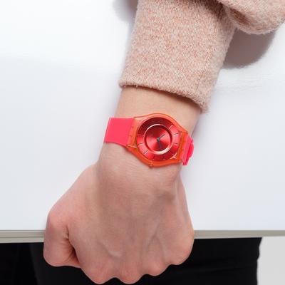 SWATCH  SKIN超薄系列手錶SWEET CORAL珊瑚橘(34mm)