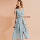 AIR SPACE LADY 質感V領排釦綁帶無袖洋裝(藍灰)