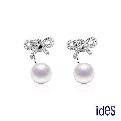 ides愛蒂思 日韓潮流設計淡水貝珠耳環10mm/幸福蝴蝶結(2種戴法)