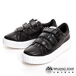 WALKING ZONE 蛋糕系列 黏帶式柔軟增高休閒 女鞋-巧克力黑