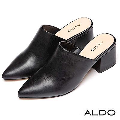 ALDO 原色真皮尖頭復古方形粗跟懶人穆勒鞋~尊爵黑色