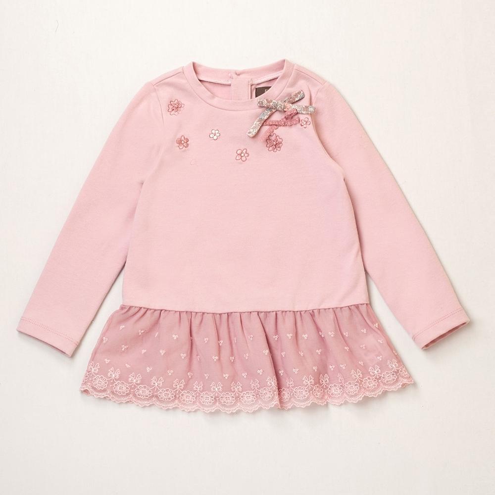 PIPPY 氣質小花刺繡 長袖上衣 粉
