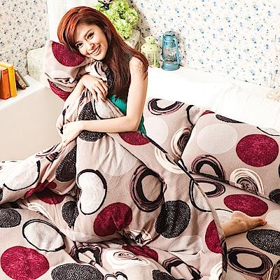 戀家小舖 / 單人床包兩用毯組  普普原點灰  頂級搖粒絨  台灣製