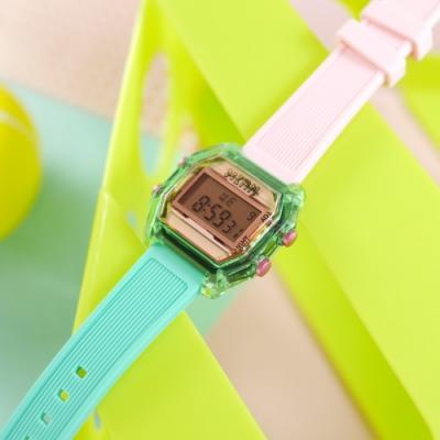 I AM 電子液晶 繽紛色彩 錶帶自由搭配 矽膠手錶-粉x透明綠x粉 33mm