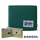 福利品 KANGOL 韓式潮流 多夾層橫式短皮夾+鑰匙圈禮盒