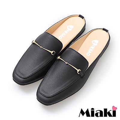 Miaki-穆勒鞋時尚嚴選低跟休閒鞋-黑