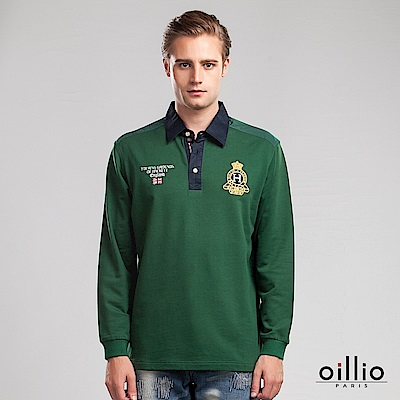 歐洲貴族oillio 長袖POLO衫 襯衫領設計 品味刺繡 綠色
