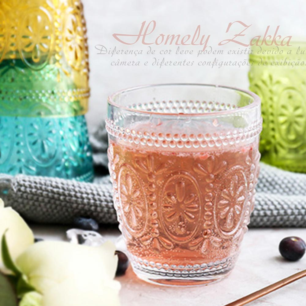 Homely Zakka 午茶食光歐式古典浮雕玻璃杯(繽紛花漾)300ml-透明