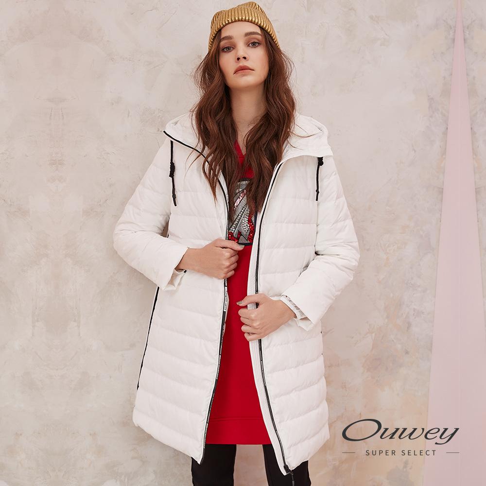 OUWEY歐薇 素面連帽織帶造型長版羽絨外套(白)