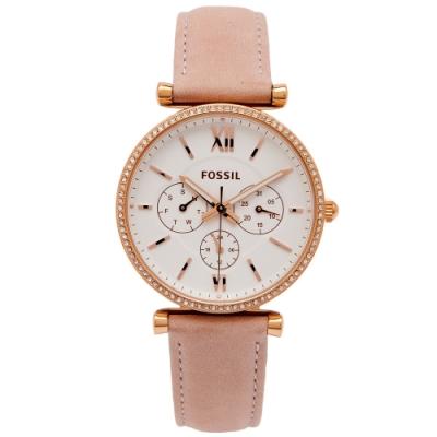 FOSSIL 鑲鑽款粉嫩風的手錶(ES4544)-白面X粉色/38mm