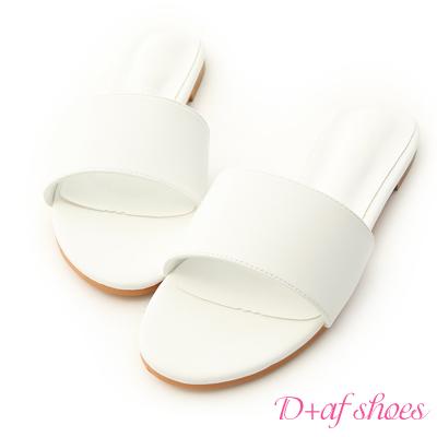 D+AF 亮彩盛夏.一字寬版平底涼拖鞋*白