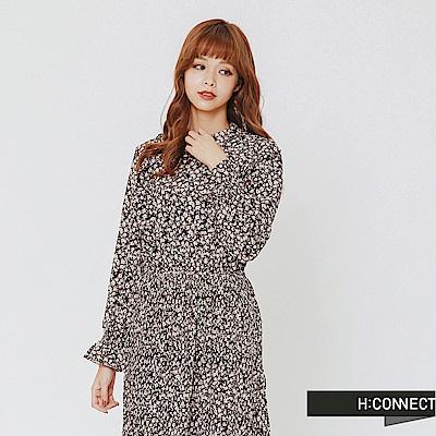 H:CONNECT 韓國品牌 女裝-荷葉滾邊印花收腰洋裝-棕