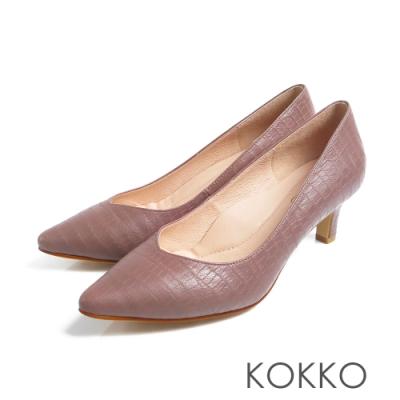KOKKO - 優雅尖頭鱷魚壓紋羊皮粗跟鞋 - 復古灰