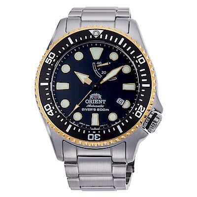 ORIENT  經典夜光200米防水潛水機械錶-黑金框x43mm