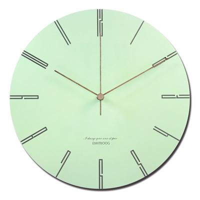 12吋 居家擺飾 輕薄簡約 邊緣數字設計 餐廳客廳臥室 靜音 圓掛鐘 - 綠色