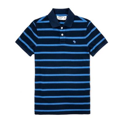 A&F 男款經典Logo刺繡麋鹿橫紋Polo衫 深藍/藍(深藍/藍-M)