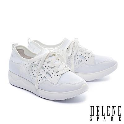 休閒鞋 HELENE SPARK 異材質拼接純色綁帶厚底休閒鞋-白