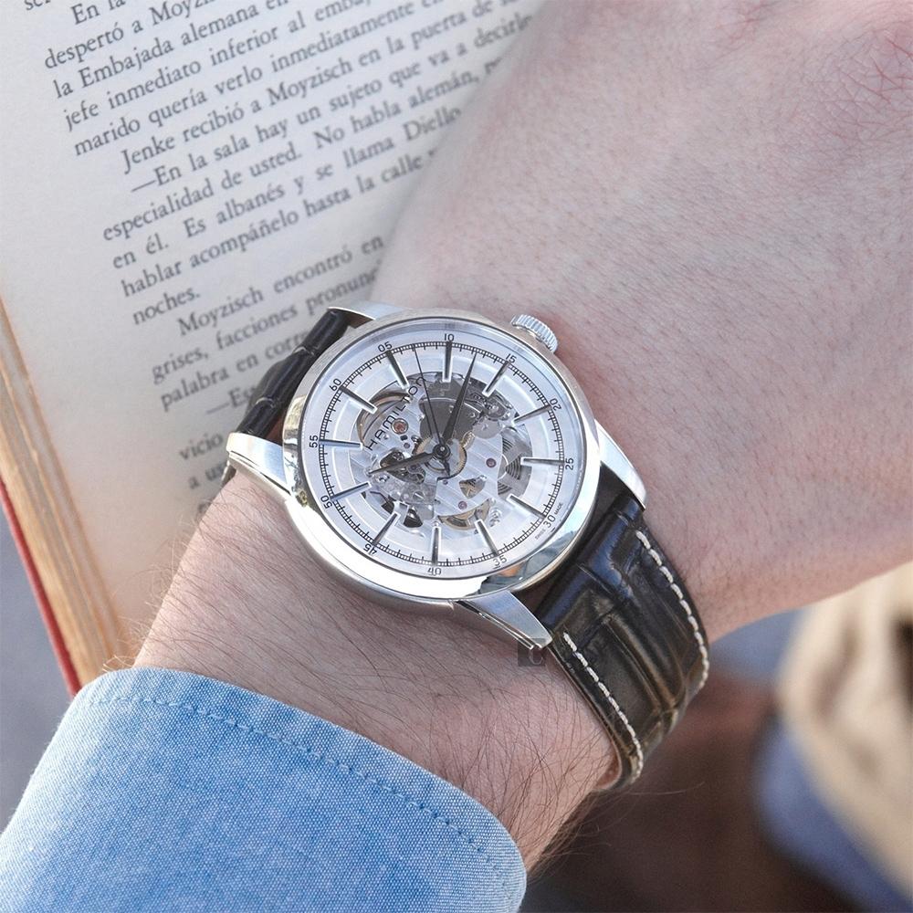 Hamilton AMERICAN CLASSIC鐵路系列鏤空機械腕錶-銀x黑/42mm