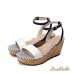LisaVicky真皮厚底增高楔型涼鞋-雪白藍