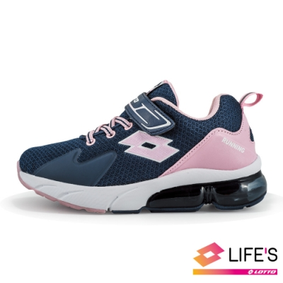 LOTTO 義大利 童 VOLARE RUN 氣墊跑鞋 (深藍/粉)