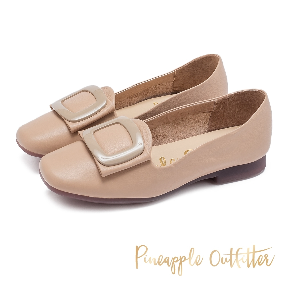 Pineapple Outfitter 英倫文青 金屬圓弧方扣飾平底樂福鞋-粉藕