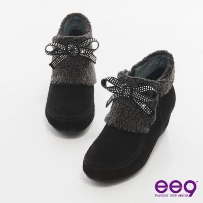 ee9 完美時尚 璀燦水鑽異材質拼接踝靴 黑色