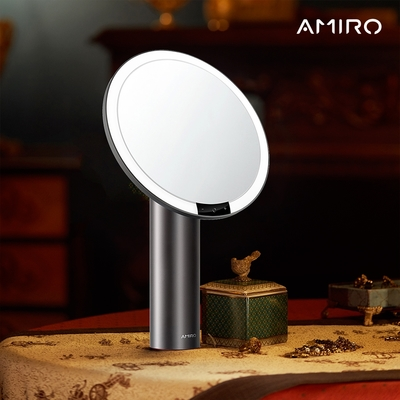 AMIRO O系列2代 LED智能高清日光化妝鏡(充電式/Vintage限定)- 星空黑