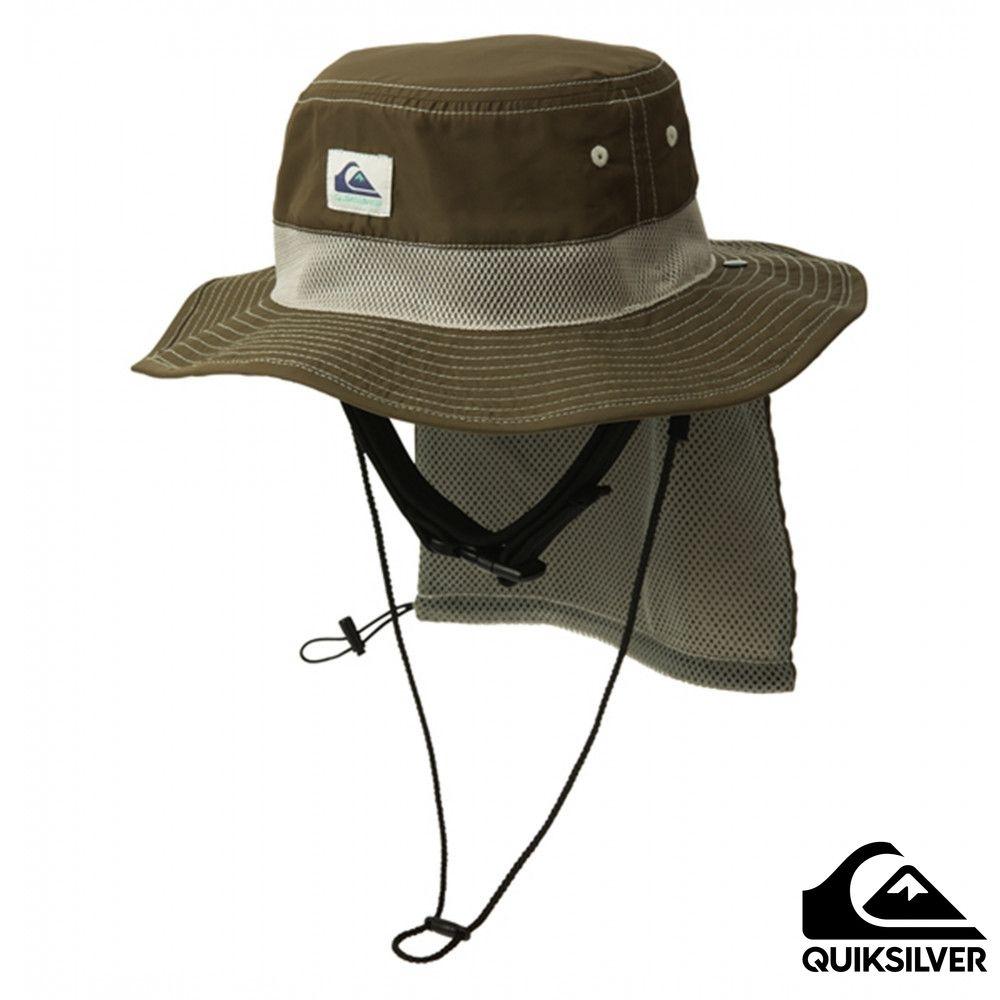 【 QUIKSILVER】UV WATER CAMP HAT 可折疊戶外運動防曬帽 咖啡色