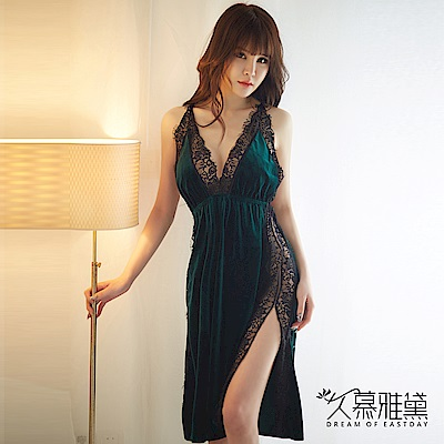性感睡衣 金絲絨蕾絲拼接開叉吊帶裙。綠絲絨 久慕雅黛