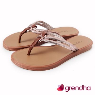 Grendha 炫彩異國風夾腳鞋-褐色/玫瑰金