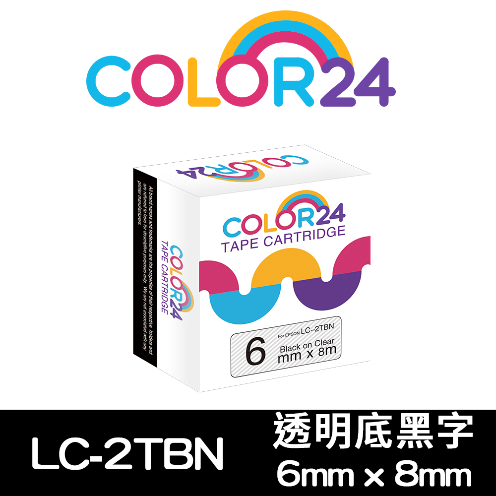 Color24 for Epson LC-2TBN 透明底黑字相容標籤帶(寬度6mm)