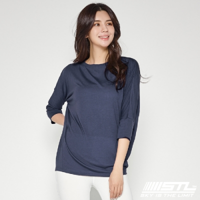 STL yoga Daily Modal Box T-Shirt 韓國瑜珈 運動機能 莫代爾7分袖素色上衣 摩登藍ModernBlue