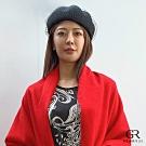 GLORY21 羊毛網紗貝蕾帽_黑