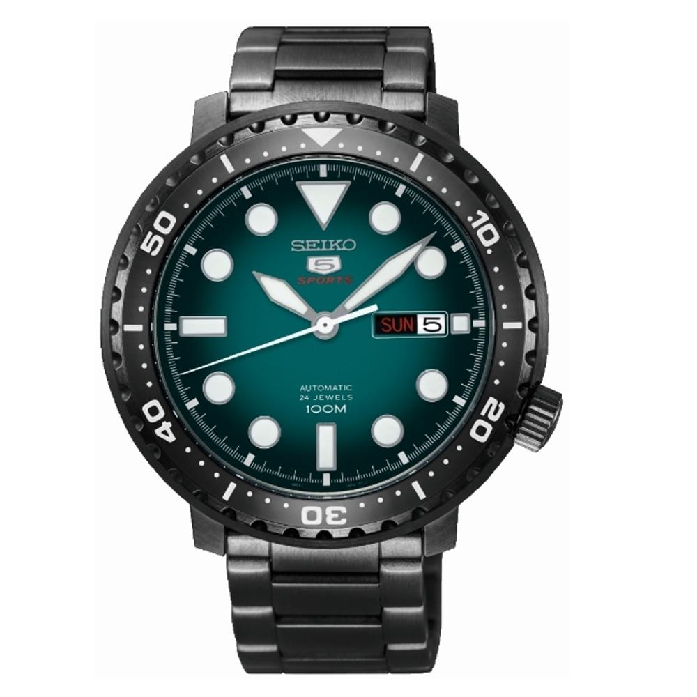 SEIKO 精工5號復刻時尚限量機械腕錶-黑綠(4R36-06N0SD/SRPC65J1)