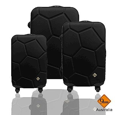 Gate9 經典世紀足球系列三件組輕硬殼旅行箱/行李箱/登機箱-黑色