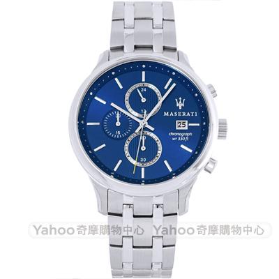 MASERATI 瑪莎拉蒂Gentleman三眼計時手錶-藍X銀/42mm