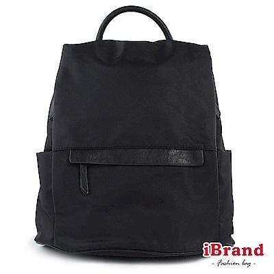 iBrand後背包 率性時尚皮飾後開式防盜尼龍後背包-黑色