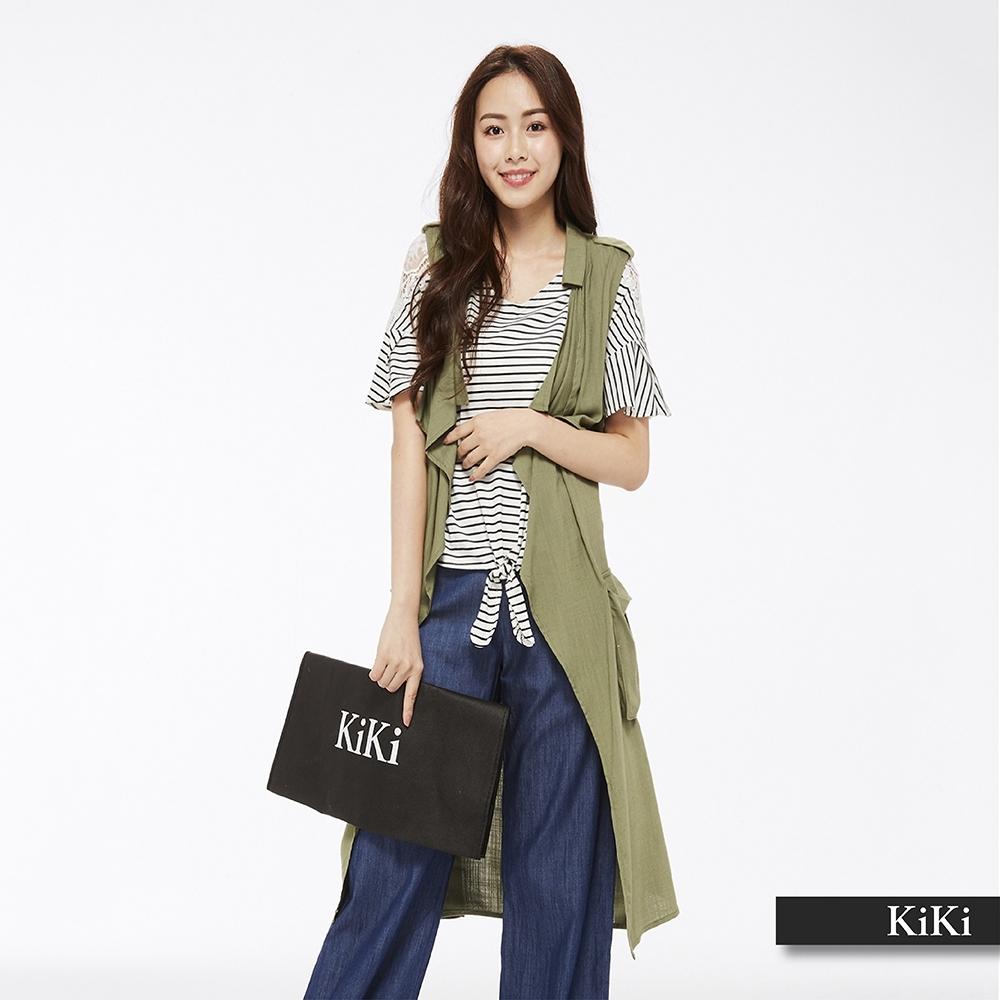 【KiKi】百搭長版-背心罩衫(三色)