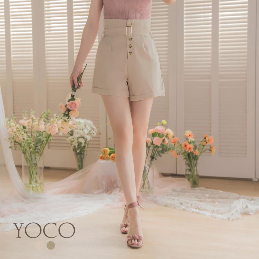 東京著衣-YOCO 反骨女孩高腰排釦附腰帶反褶短褲-S.M.L-(共二色)