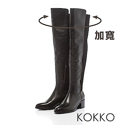 KOKKO - 逆天顯瘦真皮過膝長靴 -亮眼黑