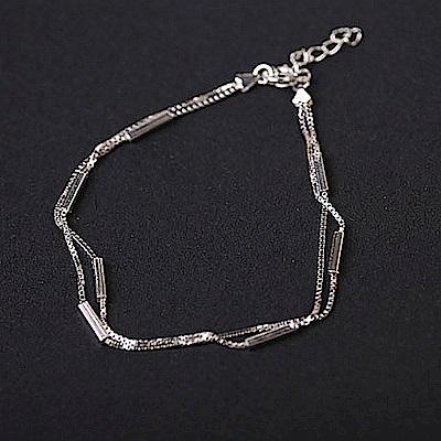 梨花HaNA 韓國925銀極簡純銀方型綴飾手鍊
