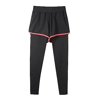 台灣品質.世界同布~假兩件式撞色短褲X內搭褲.3色-OB大尺碼