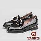 WONDERS-麂皮圓釦樂福鞋