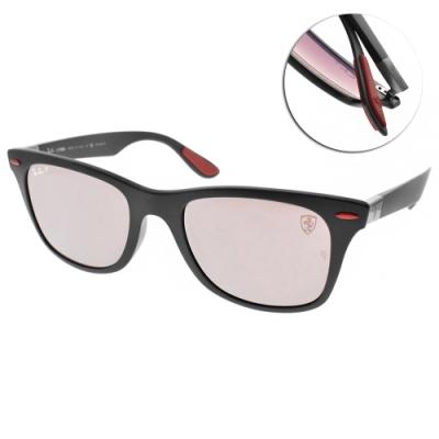 RAY BAN偏光太陽眼鏡 法拉利聯名款/霧黑-淺粉水銀#RB4195MF F602H2
