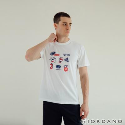GIORDANO 男裝Hope印花T恤 - 41 皎白